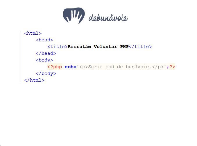 Recrutăm Voluntar PHP